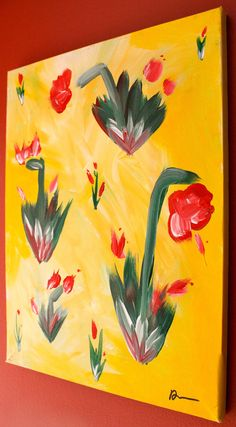 Items similar to Original Creative Acrylic on canvas. Perfect wall decor for any home or office - Yellow Memory Healer - Floral Painting on Etsy Favorite Things, Wall Decor, Paintings, The Originals, Canvas, Awesome, Floral, Creative, Etsy