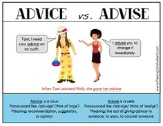 advice or advise, advise versus advice, commonly confused words, ESL confused vocabulary, Is it advice or advise? What's the difference between advice and advise? meaning of advice, meaning of advise, ESL problems, give me advice