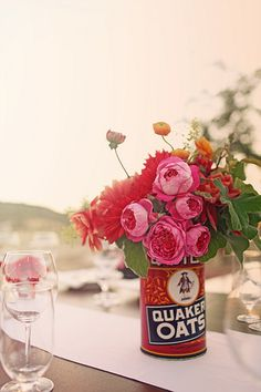 beautiful buds in a quaker oats canister...via duet weddings