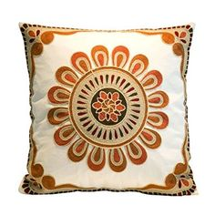 Milesky Embroidery Throw Pillow Case Decorative Cotton 18x18 (Sunflower Red)