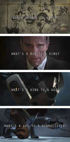Human beings in a mob. What's a mob to a king?  What's a king to a god? What's a god to a non-believer? #portal