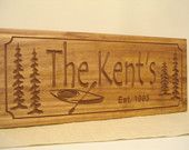 Canoe Kayak Lake House Signs Cottage Rustic Cabin Welcome Signs Pine Tree Primitive carved Sign Wood Carved Cabin Plaque Benchmark Signs #5