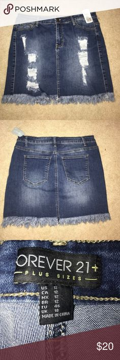 Forever 21 plus size jean distressed skirt NWT Never worn! NWT! It's super stretchy so it's comfortable! Got with the intentions of tailoring it but never got around to it! Forever 21 Skirts Mini