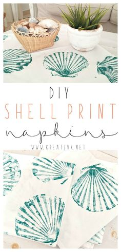 DIY shell print napkins kreativk.net