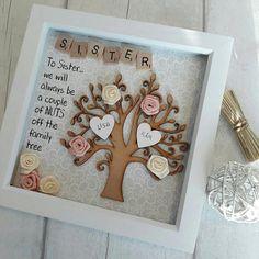 Gift For Sister, Gift For Family, Family Tree Frame, Personalised Scrabble Art, Sister Shadow Box, Birthday Present For Sister, Sister Frame