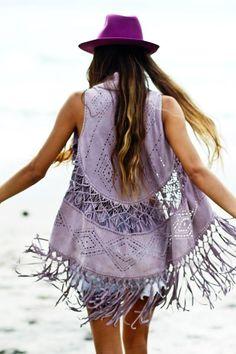 Just love this look.Purple boho hat, lilac fringe-crochet sleeveless suede jacket.