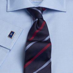 T.M Lewin Slim Fit Navy Micro Check Camicia-Button polsino