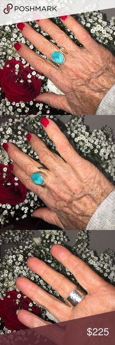 Handmade sterling & turquoise ring I'm selling a gorgeous handmade hammered sterling silver and turquoise adjustable ring.  Turquoise is known for a stone of healing,  combined with sterling silver a precious metal will be  an all-time favorite and heir loom.  Adjustable size 6/7 Jewelry Rings