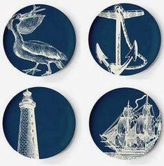 Vintage Nautical 8-Pc. Melamine Dinnerware Set