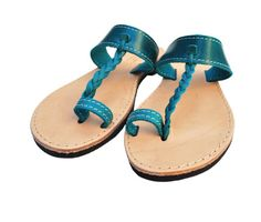 Flip Flops in Blue Leather Sandal Toe Rings by NikolaSandals