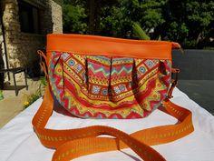 Sac Cancan en orange et tissu coloré cousu par Anne - Patron Sacôtin