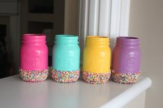 This listing is for 1 painted mason jar of your choice. These are perfect for birthday parties, photo props, Easter decor or tween room