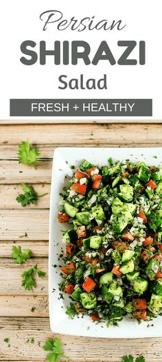 Persian Shirazi Salad - Lightweight And Delicious Salad That Goes With Literally Anything It Longer It Stays, The Better It Tastes. This Is Definitely Going To Become A Staple In Your House Healthy Recipes, Healthy Salads, Salad Recipes, Vegetarian Recipes, Healthy Eating, Cooking Recipes, Dessert Recipes, Healthy Cooking, Vegetarian