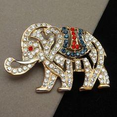 Patriotic Rhinestone Elephant Brooch