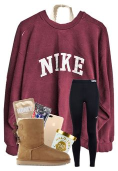 """Had a basketball game today"" by magsvolleyball2 ❤ liked on Polyvore featuring Hollister Co., NIKE and UGG"