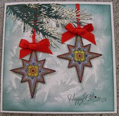 Impression Obsession die of a pine branch with free stamps on a magazine. Impression Obsession, Pine Branch, Christmas Cards, Stamps, Workshop, Magazine, Seasons, Handmade, Crafts