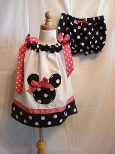 Minnie Mouse Boutique Birthday Party Pillowcase dress sz 3/6mo to sz 12 Bloomers available