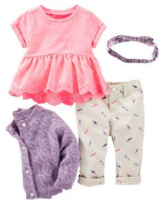 Fun little feathers look just right with neon eyelet lace and soft marled yarns to layer. A plaid bow makes the perfect finishing touch. Baby Kids Clothes, Carters Baby Girl Clothes, Toddler Outfits, Baby Outfits, Kinder Outfits, Outfits Niños, Eyelet Lace, Toddler Boys, My Baby Girl