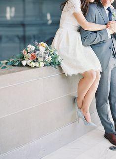 Rose, thistle and eucalyptus wedding bouquet: Photography: The Great Romance Photo - thegreatromancephoto.com Read More on SMP: http://www.stylemepretty.com/california-weddings/san-francisco/2016/10/07/intimate-city-hall-elopement-san-francisco/