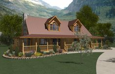 Canyon View (Plan D) Floorplan of Ameri-Log Collection - Modular Home - All American Homes