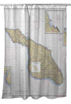 Santa Catalina Island CA Nautical Chart Shower Curtain Curtains Bath