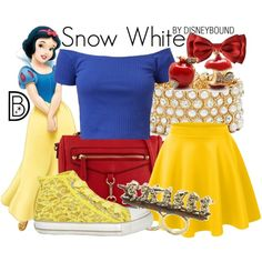 Snow White by leslieakay on Polyvore featuring Ash, ALDO, GUESS, Disney Couture, disney, disneybound and disneycharacter