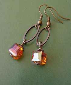Items similar to Bonfire Style 1 // Orange Crystal Cube / Antique Copper Finish Dangle Earrings on E Wire Wrapped Jewelry, Wire Jewelry, Gold Jewelry, Beaded Jewelry, Jewelery, Jewelry Crafts, Jewelry Ideas, Jewelry Box, Initial Jewelry