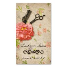 A beautiful, delicate, girly business card featuring flowers with a comb and scissors/shears. Perfect for hair stylists, hair dressers, cosmetologists, cosmetology, salons, spas and more!