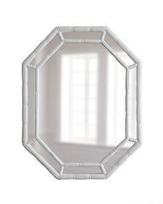 White Octagonal Bamboo Mirror