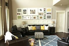 love the bold patterns...mostly neutral color palette so it all works together :) plus a pop of yellow - one of my favs!