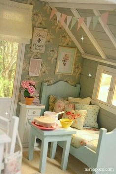 The blue furniture reminds me of Mom's doll furniture from the Miniature Rooms, Miniature Houses, Miniature Furniture, Doll Furniture, Dollhouse Furniture, Blue Furniture, Bird Bedroom, Dream Bedroom, My Doll House