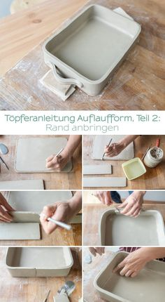 My potter& diary Instructions for a baking dish - Leelah Loves - Step by step DIY potter Instructions for a hand-made clay baking dish for beginners and advanced - Hand Built Pottery, Slab Pottery, Ceramic Pottery, Thrown Pottery, Pottery Vase, Pottery Wheel, Cerámica Ideas, Slab Ceramics, Pottery Courses