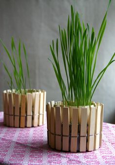 Clothespin planters-Super simple. Great idea for creating an impromptu centerpiece for an outdoor party. Tuna can, clothespins, and something to keep your herbs or grasses in (like a recycled baby food jar) and presto-You're done! Or, use a votive inside to make a nice candleholder.