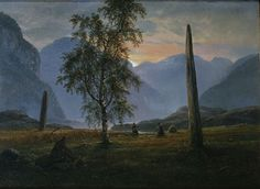 The Athenaeum - Landscape with memorial stones (Johan Christian Claussen Dahl - )