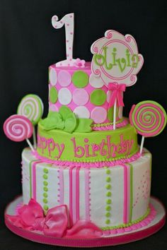 Baby Girl First Birthday Cake | Baby and 1st Birthday Cakes | Pinterest