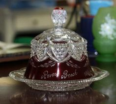 Ruby Flash Button Arches EAPG Glass Souvenir 1918 Antique Butter Dish | eBay