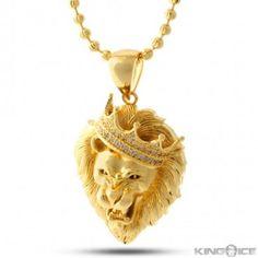 King Ice - Roaring Lion Head w/ CZs Necklace (Gold Plated) - Hip Hop Collection Gold Plated Necklace, Gold Necklace, Pendant Necklace, Necklace Chain, Pendant Jewelry, Jewelry Necklaces, Crystal Necklace, Jewellery, Mens Gold Bracelets