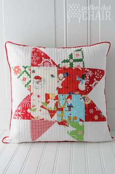 Patchwork Quilted Star Pillows on polkadotchair.com Can change patterns to use for all seasons.