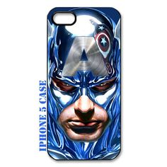 cool Blue teal Chrome captain america face with water color technic image iphone 5 case by simplegiftshop, $16.89