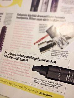 Cosmopolitan suosittelee Avon kiinnityssuihketta koko päivän kestävän meikin kiinnitykseen. | Avon makeup setting spray featured on Cosmopolitan Finland Dec 2014