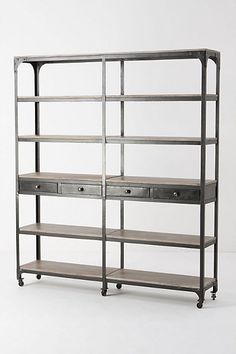 galvanised shelves with draws