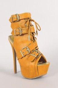 Liliana Lenny-1 Buckle Lace Up Cut Out Bootie
