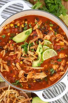 This easy chicken tortilla soup is the perfect comfort food. We love serving this any time of year! #spendwithpennies #chicken #chickensoup #chickentortillasoup #tortillasoup #mexican #mexicansoup Authentic Chicken Tortilla Soup, Mexican Tortilla Soup, Healthy Chicken Tortilla Soup, Chicken Enchilada Soup, Chicken Soup Recipes, Chicken Soups, Healthy Soup, Mexican Soup Recipes, Milk Recipes