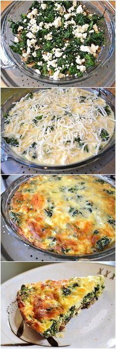 Spinach, Mushroom & Feta Crustless Quiche | Bake a Bite