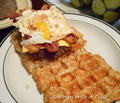 Southern With A Twist: Bacon Egg and Cheeseburger on a Tater Tot Waffle B...  https://lynn-southernwithatwist.blogspot.com/2017/03/BaconEggandCheeseburgersonTaterTotWaffleBun.html