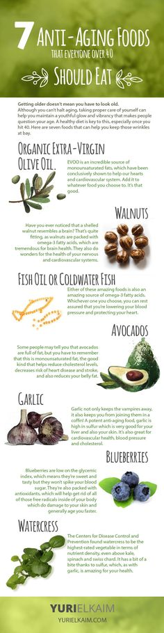 7 Anti-Aging Foods Everyone Should Be Eating -- The fountain of youth can be found in your kitchen. Stock up on these 7 anti-aging foods to drastically improve your quality of life. | Yuri Elkaim