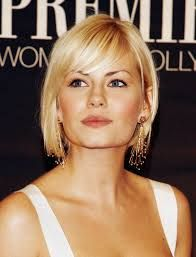 elisha cuthbert straight blonde bob with bangs. great for square face shape.