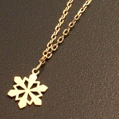 k10 solid gold dainty snowflake necklace delicate necklace everyday jewelry minimalist jewelry $120.00