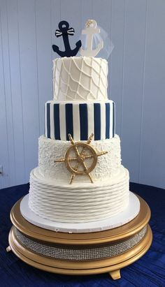 Nautical Wedding Cake Related posts: Beach Wedding Cake Topper – Tied the Knot – Anchor – destination wedding – beach. Nautical Wedding Cakes, Nautical Cake, Pretty Wedding Cakes, Creative Wedding Cakes, Beach Wedding Decorations, Cake Wedding, Nautical Birthday Cakes, Nautical Anchor, Dress Wedding