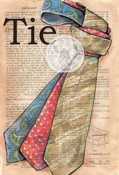 """""""Tie"""" Mixed Media Drawing on Distressed, Dictionary Page - flying shoes art studio Book Page Art, Art Pages, Newspaper Art, Dictionary Art, Shoe Art, Bible Art, Teaching Art, Book Crafts, Art Techniques"""
